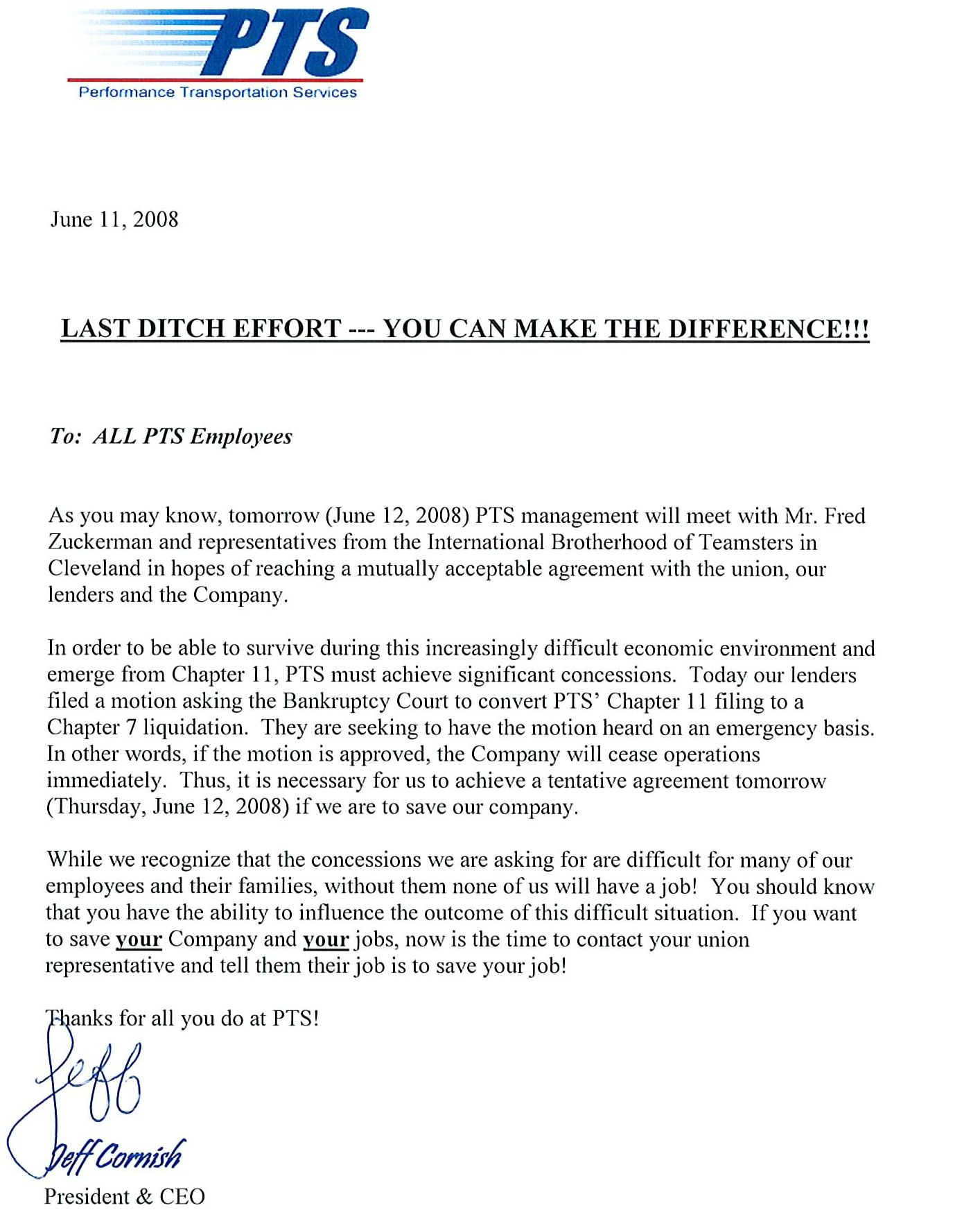 letter from jeff cornish to performance transportation services PTS employees