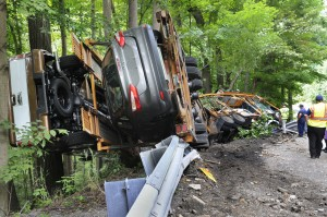 jack Cooper truck overturned in PA big rig truck wreck