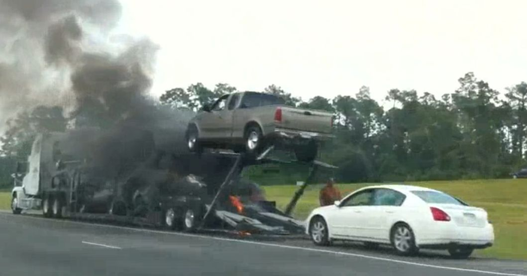 auto transport car carrier auto hauler carhauler axle fire