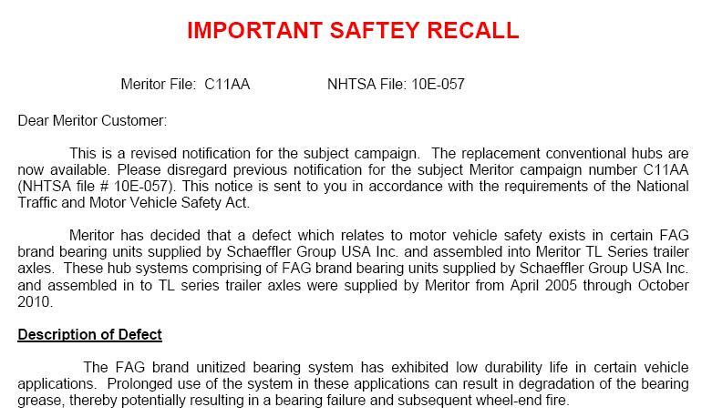 safety recall of cottrell auto transporter meritor axles