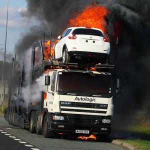 autologic auto transport car carrier fire