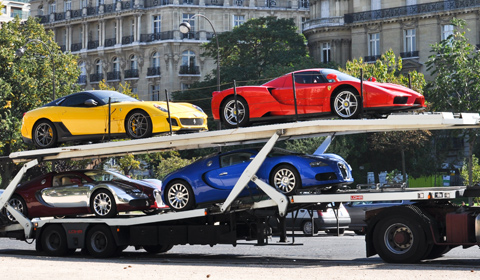 seized-supercars on a car hauler auto transporterer