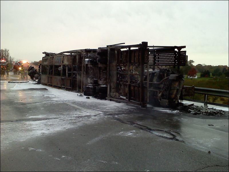 toledo car hauler fire wreck