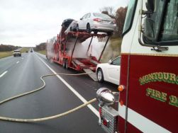 car carrier fire caught in time