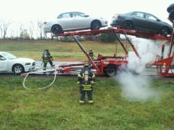 car hauler car carrier fire caught in time