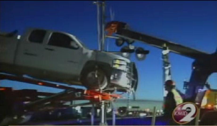 odessa texas high mount car carrier stuck on tracks.