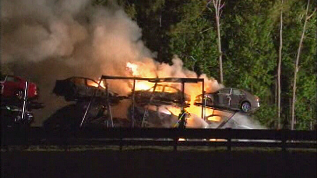 car hauler axle fire