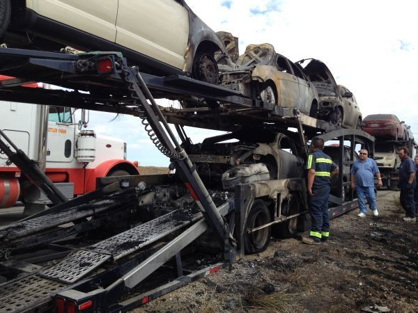 looks like another auto transporter axle fire