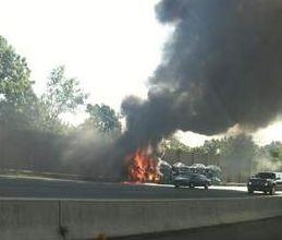 Jersey car hauler auto transprter  fire