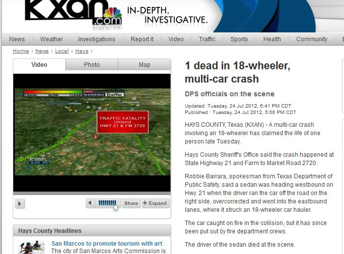 kxan article on  auto transport wreck