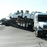 car carrier auto transporter stuck in pahrump1