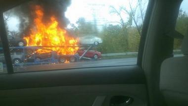 auto transport car carrier fire