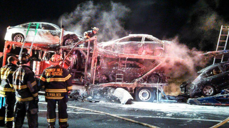 church hill md auto transporter car carrier fire